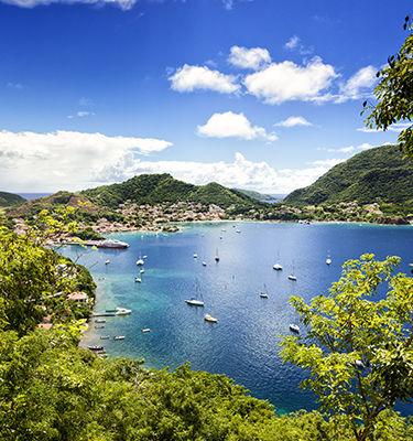 vue sur mer en Guadeloupe, paysage verdoyant, bateaux