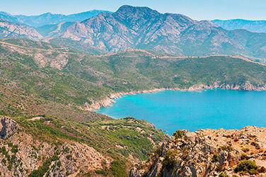 Vue sur les montagnes et la mer, Piana, Corse du Sud